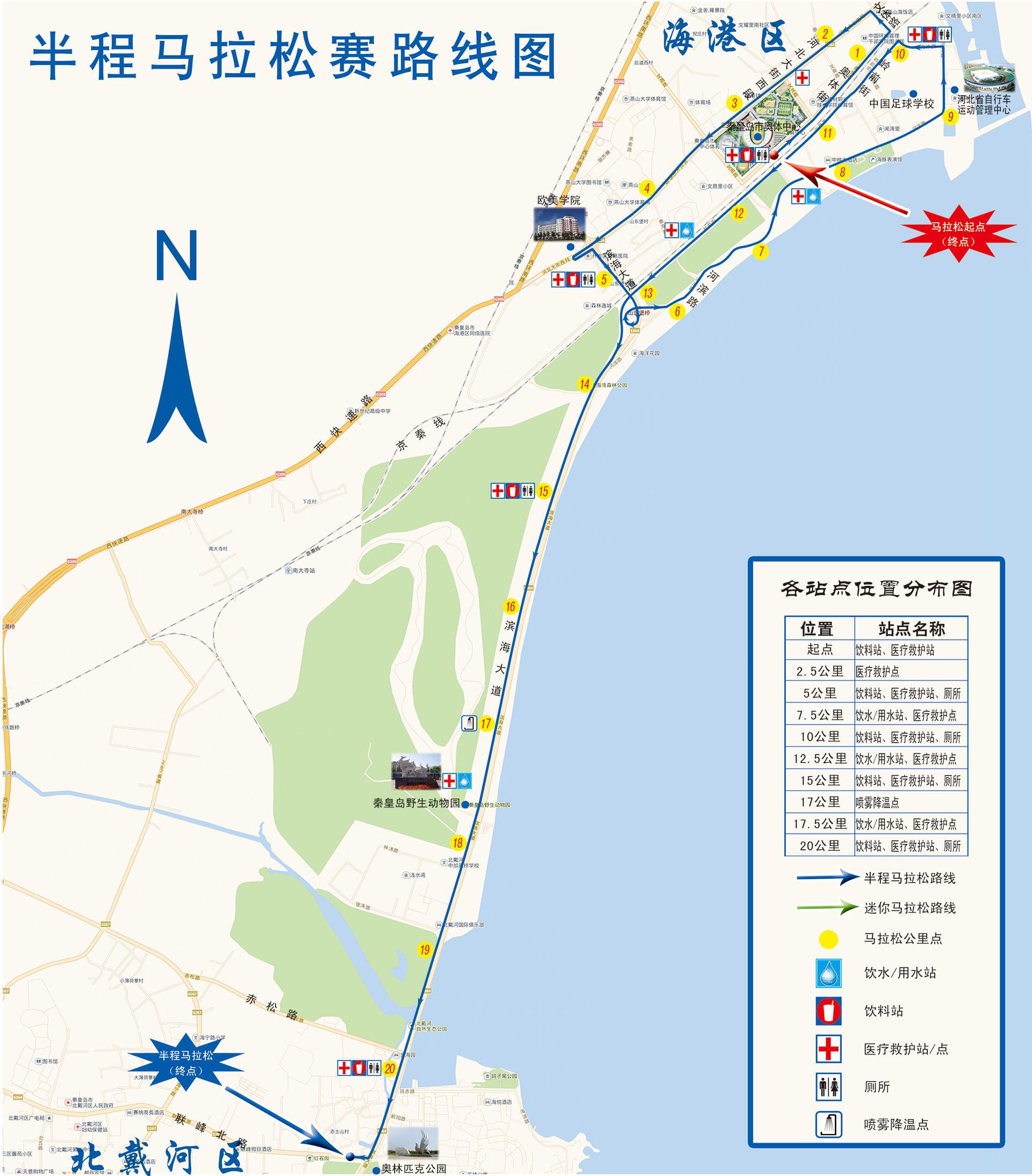 """2014秦皇岛国际马拉松赛""""比赛路线""""(点击查看)"""